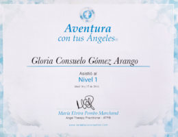 Certificado Abr 16 y 17 - Angel Therapy Practitioner Nivel 1 - Gloria Consuelo Gómez A.
